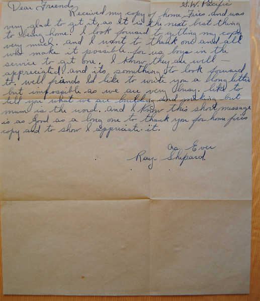 NASHOBA VALLEY VOICE/ANNE O'CONNOR<br /> During World Way II, many local boys answered their country's call to arms. The Home Town Committee kept in touch with service members from West Groton and North Shirley, sending cards, newsletters and boxes of gifts around the world. Letters written back to the committee, chaired by Mrs. Elliot Blood, were found on the floor of a closet after she died.