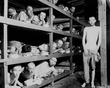 These are slave laborers in the Buchenwald concentration camp near Jena; many had died from malnutrition when U.S. troops of the 80th Division entered the camp. April 16, 1945.