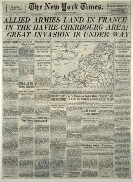 General Dwight D. Eisenhower did not announce the Allied landings on the coast of France until 3:30 a.m on June 6, 1944. As the last edition of the day, this 6:00 a.m. extra edition of The New York Times carried the most complete D-Day coverage of any morning newspaper world-wide, replete with text and detailed maps of the Normandy. In addition to Raymond Daniel's lead story, the front page includes NBC's Wright Bryan's coverage from a U.S. Ninth Air Force plane, providing one of the first eyewitness accounts of the airborne invasion.