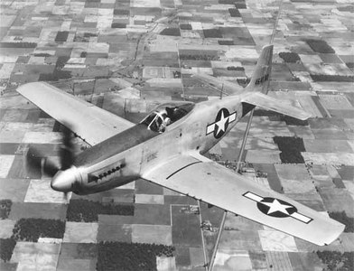 A P-51 Mustang. The P-51 was perhaps the best American fighter of the war. The aircraft came about when the British asked North American Aviation to quickly design a fighter.
