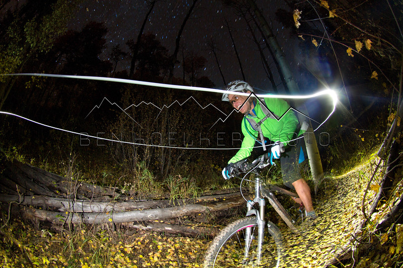 Tracey Head biking at Beaver Creek, CO at night