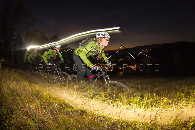 Jeannine Anders night-riding Beaver Creek, CO