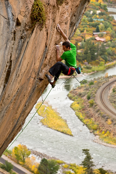Matty Hong climbing Pouxe, Glenwood Canyon, CO