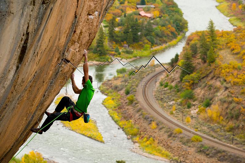 Matty Hong climbing Pouxe, Glenwood Canyon, CO