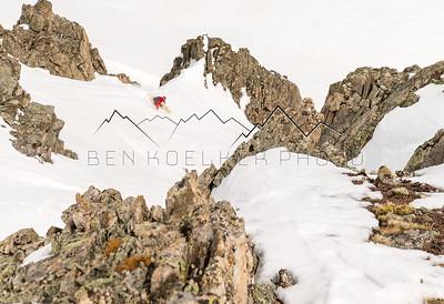 Sean Delaney riding a lower shoulder of Drift Peak, CO
