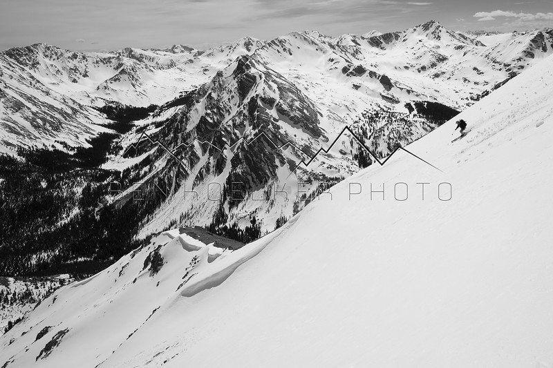 Paul Darrah skiing near the summit of Mount Massive, CO