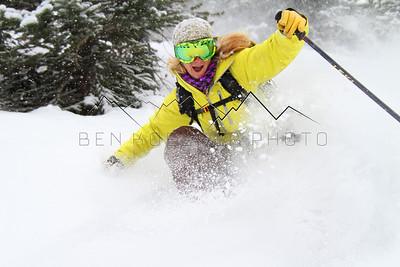 Rebecca Selig enjoying some early season pow!