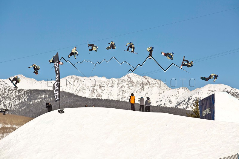 Sequence shot of Mark McMorris, US Open Slopestyle Finals, Vail, CO 3/6/15