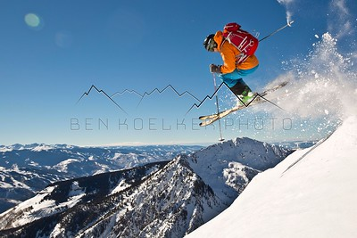 Gary Fondl airing over Bald Mountain while skiing Outpost Peak, CO 1/27/15