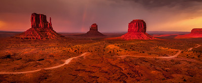 Sunset and storm at Monument Valley