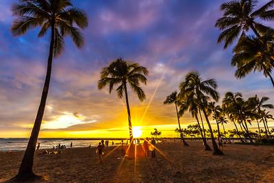 Watching the sunset in Waikiki