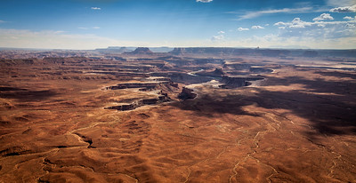Murphy point overlook . Preserved landscape in Canyonlands with Green river in the background- Utah