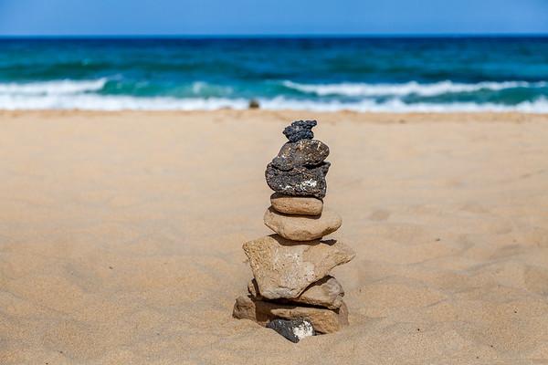 Stone pile on the beach