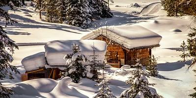 Chalet under the snow
