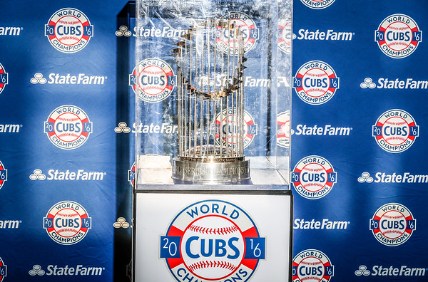 world series trophy and fans 4/20/17