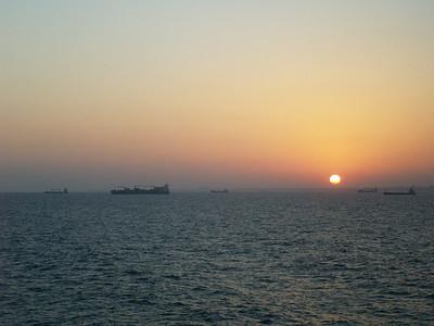 Sunrise entering Alexandria, Egypt