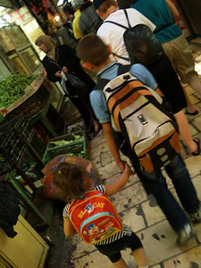 Off to school, Via Dolorosa, Jerusalem, Israel