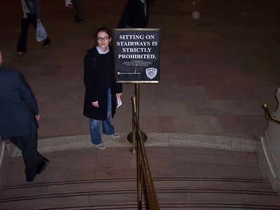 New York. 'Sitting is prohibited' in Grand Central