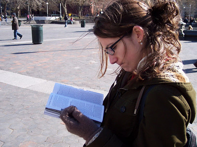 New York. Lonely Planet guiding us at Washington square
