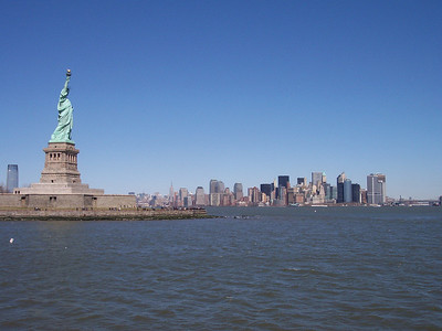 New York. Liberty statue and Lower Manhattan