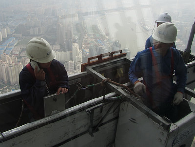 They were cleaning the windows just in front of us, at 474 metres high