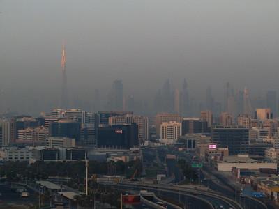 Dubai seen from the plane. Notice the Burj Khalifa supertall skyscraper