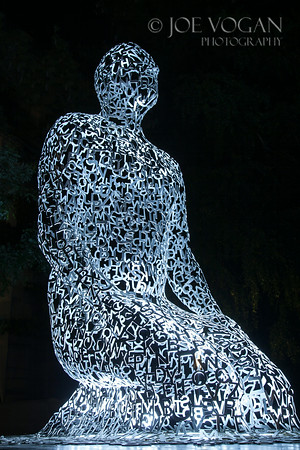 Sculpture by Jaume Plensa, Tryptic, Stainless Steel, Salzburg, Austria