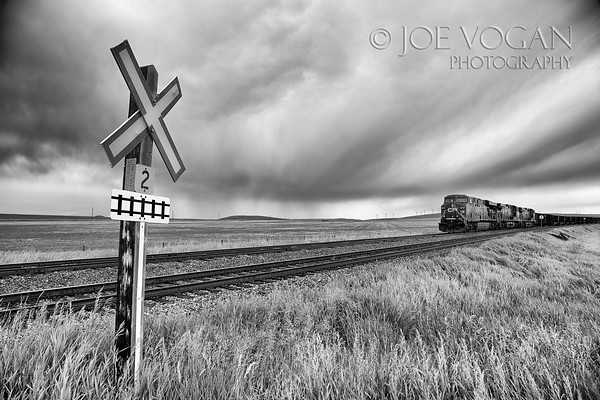 Railroad crossing, Southern Alberta, Canada