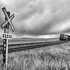 Railroad crossing, Southern Alberta, Canada