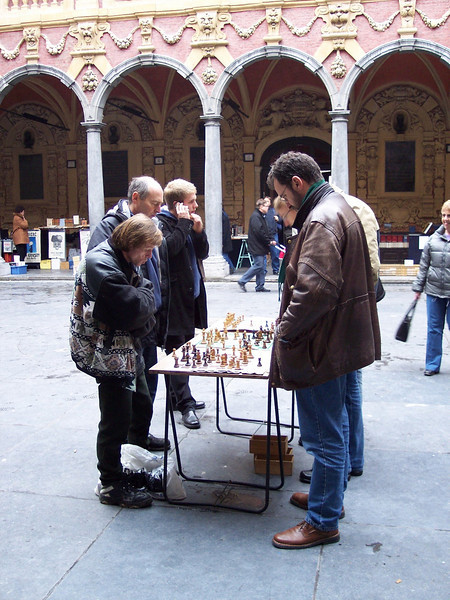 Lille. Chess players at Vieille Bourse