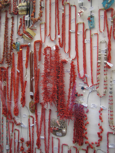 Alghero. Coral jewellery