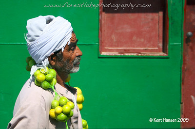 Crossing the Suez Canal by ferry from Ismailia to the Sinai Desert in Egypt. As this lime vendor walked past our van I managed to snap a couple of discreet photos. I love the character in his face along with the interplay of colors in the morning sun.