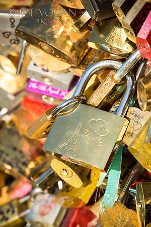 Locks on the Pont des Artes Bridge, Paris, France