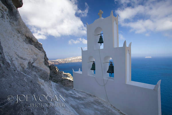 Chapel on cliff, southern end of island of Santorini, Greece