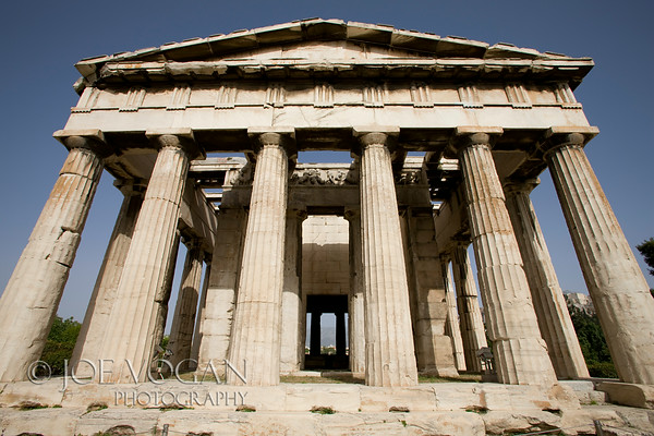 Temple of Hephaestus, Acient Agora, Athens, Greece<br /> Doric Order peripteral temple, on top of the Agoraios Kolonos hill<br /> Made of Pentelic marble, 415 BC Hephaestus was the patron god of metal working