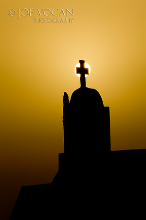 Church Roof at sunset, Oia, Island of Santorini, Greece