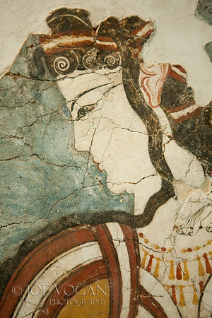 Fresco of a female, National Archaeological Museum, Athens, Greece<br /> Found at mycenae, circa late 13the century B.C.