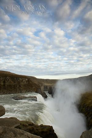 Gullfoss or Golden Falls Waterfall, Hvita River, Southwest Iceland