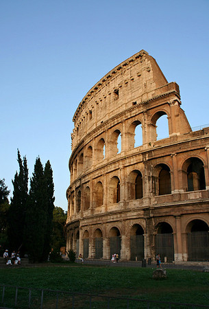 A side view of the Colosseum