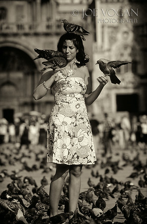 Woman Feeding Pigeons, St. Mark's Square, Venice, Italy