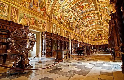 Library at El Real Monasterio de El Escorial - Madrid, Spain
