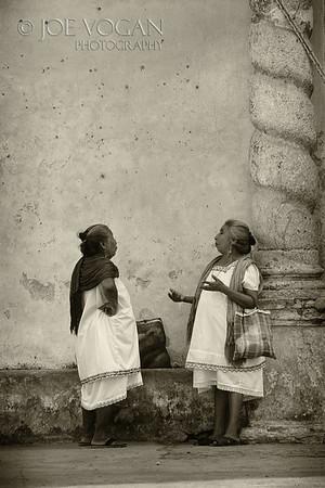 Women outside church, Acanceh, Yucatan, Mexico