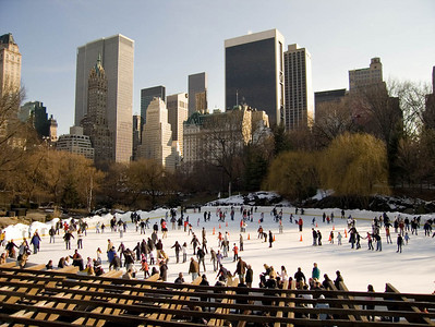 Ice rink and skyline at Central Park