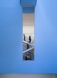 A MOMA stairway (white-balanced for tungsten light)