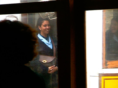 Woman in a passing tram