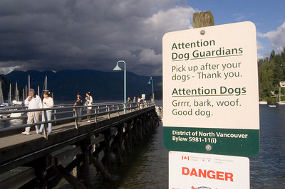 Funny dog sign at Deep Cove