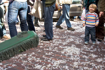 Pike Place Market Pillow Fight - aftermath