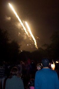 Fireworks are launched from the lake