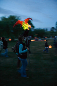 Arriving at Illuminares with a lantern