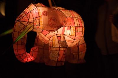 Elephant lantern rotates slowly in the night